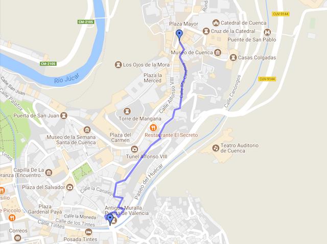 ruta por cuenca a la plaza mayor de cuenca